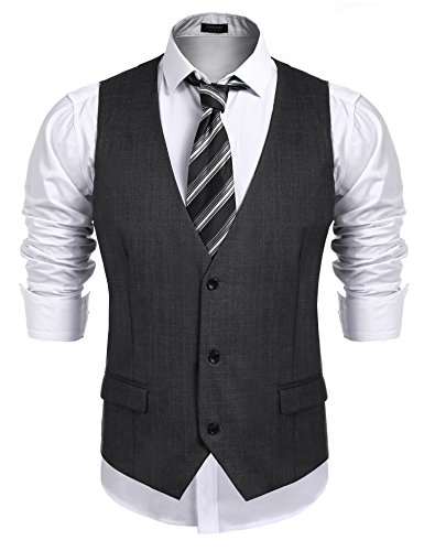 Suit Cotton V-neck (Coofandy Men's Business Suit Vest,Slim Fit Skinny Wedding Waistcoat Charcoal X-Large)