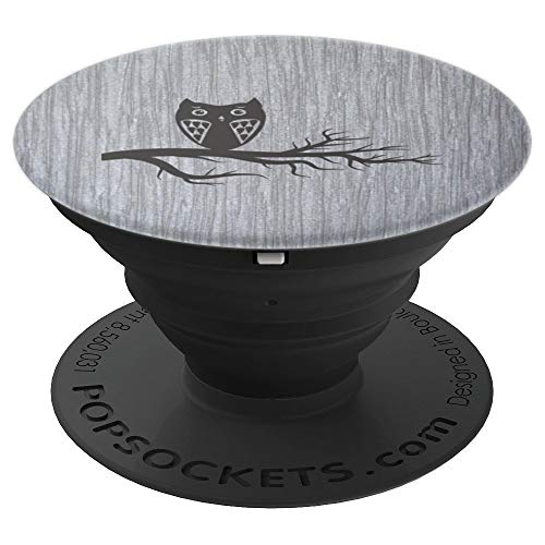 Sweet Branch (Black Owl on a Branch - PopSockets Grip and Stand for Phones and Tablets)