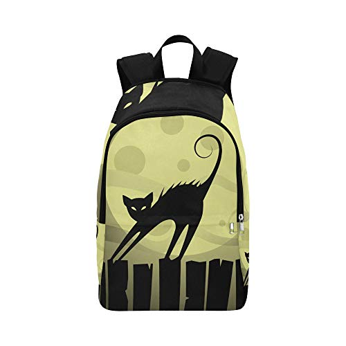 Cat On The Roof at Night Moon Casual Daypack Travel Bag College School Backpack for Mens and Women -