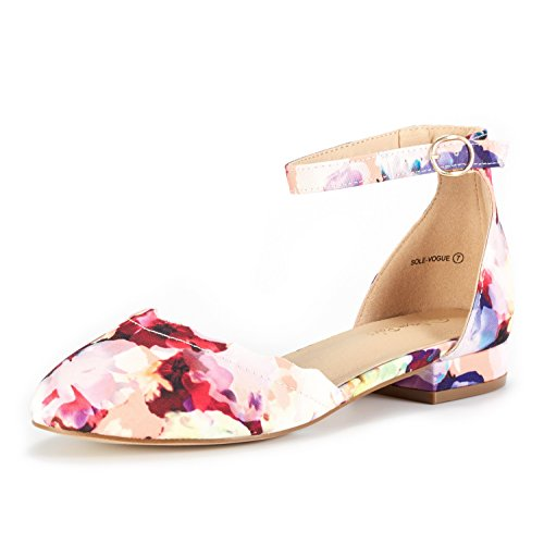 DREAM PAIRS Women's Sole_Vogue Floral Fashion Low Stacked Ankle Straps Flats Shoes Size 6 M US