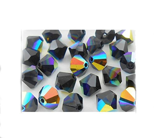 100pcs x Preciosa Bicone Crystal Beads 6mm Jet AB Alternatives For Swarovski ()