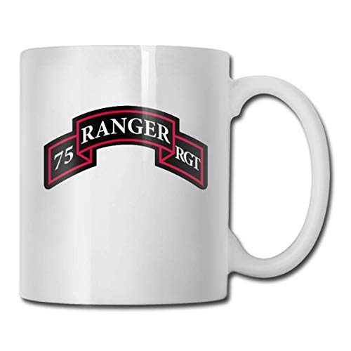 US Army Retro 75th Ranger Regiment Cocoa Mugs Ceramic Coffee Cups with Large C-Handle Funny Coffee Mug Cool Coffee Tea Cup 11 Ounces Perfect Gift for Family and Friend