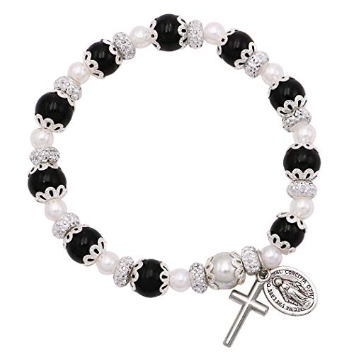 (Rosemarie Collections Women's Simulated Pearl Beaded Stretch Rosary Bracelet with Crucifix and Miraculous Medal (Black))