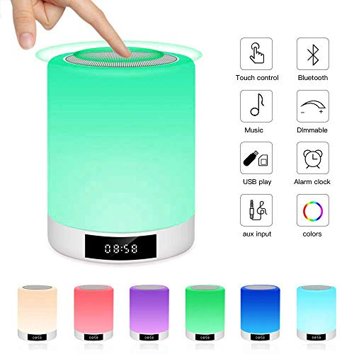 Lampe de Chevet Tactile Rechargeable, Lampe de Table Enceinte Bluetooth LED Multicolore Luminosité Réglables FM Radio Réveil, Horloge, Lecture de MP3, Mains Libres Prumya