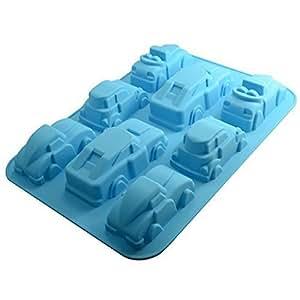 Fengh Molde de silicona para repostería con forma de coche hecho a mano para fondant de chocolate