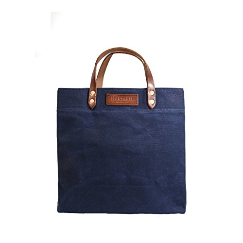 Grocery Tote - Waxed Canvas - Navy - Made in USA by Hardmill