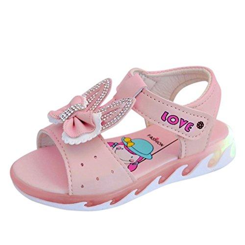 Crystal Rose Florist (Amanod 2018 discounthotsaleChildren Infant Kids Girls Crystal Bowknot Light Sandals Casual Single Shoes)