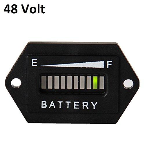 Led Battery Meter (Searon 48V LED Battery battery capacity meter Charge Discharge Status Indicator Gauge Testers for EZGO Club Car Yamaha Golf Cart Solar Panel Marine Trolling Motor Hex)