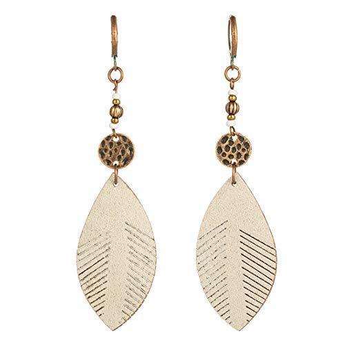 Vintage Leather Leaf Dangle Drop Women's Stud Earrings Boho Water Ethnic Charms Eardrop (White)