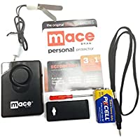 Mace Brand 130dB Personal Alarm - Strobe Light - Pager Style - Wrist Strap - Belt Clip - DoorSecure Accessory - Heavy Duty 9 Volt Battery - Screwdriver - (Screecher 80238SVK Special Value Kit)