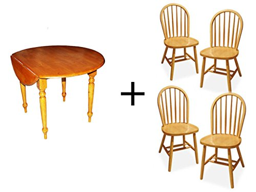 Windsor Desk Chair (Target Marketing Systems 5-Piece 40-Inch Round Drop Leaf Table and Windsor Dining Chair in Oak Finished)