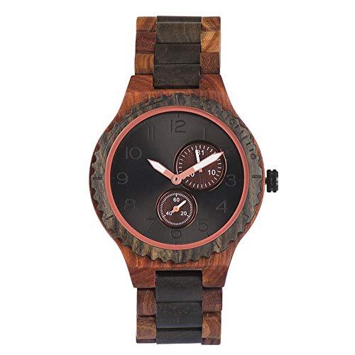 Men's Watch, Analog Display Quartz Movement, Made of Lightweight Vintage Natural Wood, Handmade Wooden Watch, Multi-Purpose Calendar,M3 (Friendly Eco Diamond Dial)