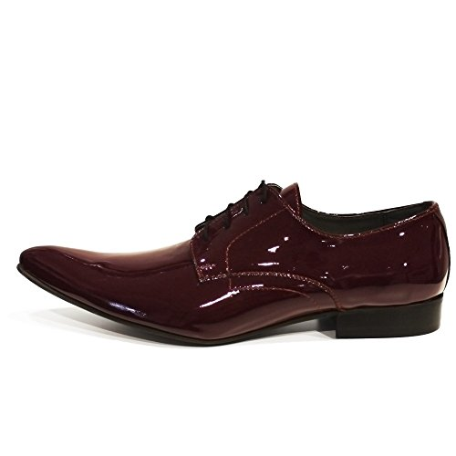 PeppeShoes Modello Feno - Handgemachtes Italienisch Leder Herren Burgund Oxfords Abendschuhe Schnürhalbschuhe - Rindsleder Lackleder - Schnüren