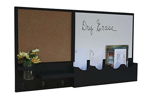 Legacy Studio Decor Message Center with White Board & Cork Board Mail Slots Key Hooks Mason Jar (Smooth, Black)