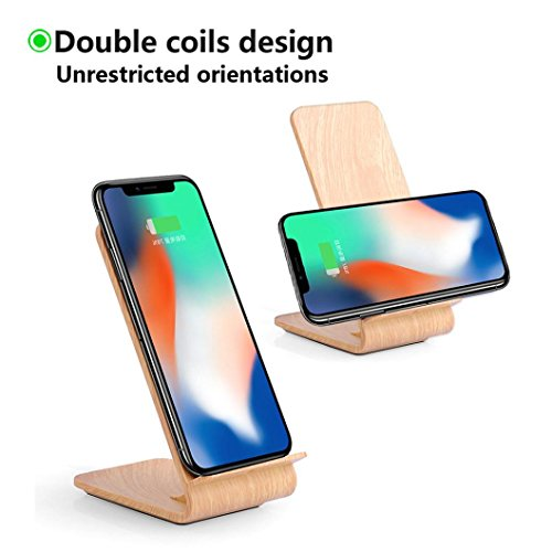 Mchoice New Wooden Design 2-coil Charging Station Wireless Charger Charging Stand for Iphone 8/8 Plus/X ()