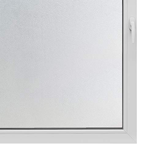 Privacy Window Film Frosted Non Adhesive Static Cling Glass Sticker for Home Office Security and Decorative Opaque Glass Effect Anti-UV Easy Removal No Residue White 17.7 Inch x 8 Feet