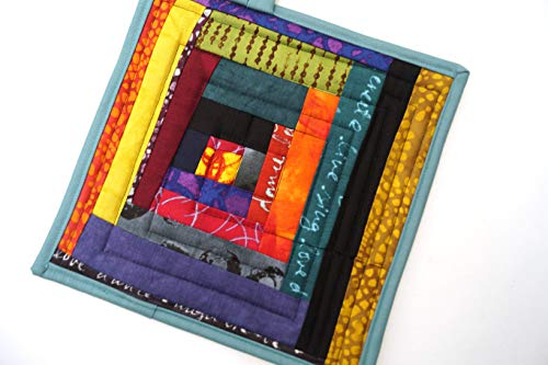Colorful Quilted Fabric Patchwork Pot Holder