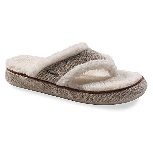Acorn Women's Thong Ragg Slippers Grey Ragg Wool S & Oxy Cleaner Bundle