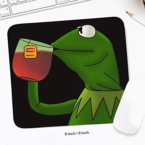 Mens Students 200mm x 225mm Funny-Green-Frog-Sipping-Tea-Wrist Rest with Black Non-Slip Rubber Base Waterproof 3mm Thick Novel Wireless Mousepad Mat for Desktops PC -