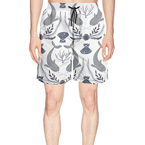Hiehdakd Grey Narwhal Whale Couple Young Men Summer Boardshort Jogging Classical Surfing Board by Hiehdakd