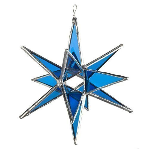 Stained Glass Moravian Star - Blue Star, Moravian Stained Glass Star, Large Star, Twelve Pointed Star, Real Glass Star