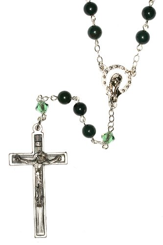 Rosary made with Indian Bloodstone Gemstones and Swarovski Crystal elements