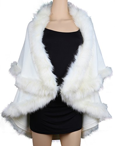 Womens Faux Fur Cape Coats Dress Plus Size (Fur Plus Size Coat)