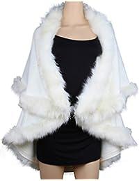 Womens Faux Fur Cape Coats Dress Plus Size