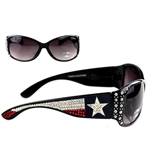 Montana West Ladies Texas Pride TX Flag Sunglasses UV 400, Black Frame Black - Sunglasses Montana Wholesale West