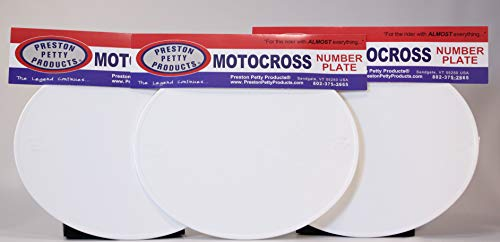 Unbreakable MX Number Plates - Oval - White - Set of 3 - Authentic Preston Petty Products ()