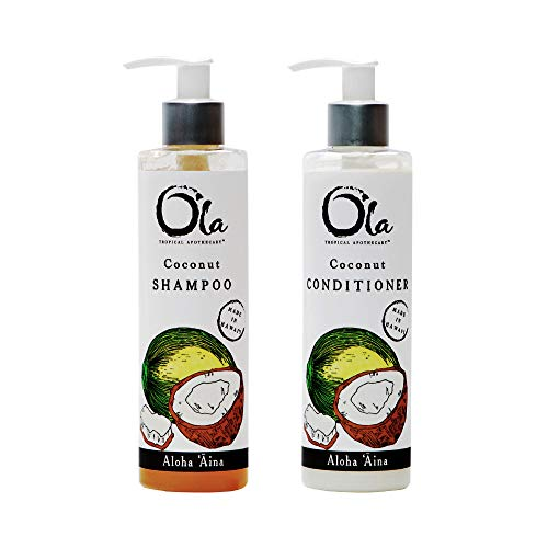 Ola Tropical Apothecary Coconut Organic Shampoo and Conditioner Hair Pair Combo - 8 fl oz each ()