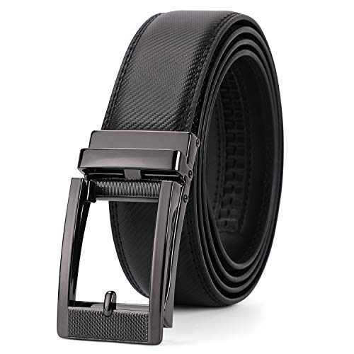 Ratchet Click Men's Belt,Leather Dress Holeless Belt For Men With Side Buckle Up to 44 Inches by JASGOOD (Fits Up to 44 Inches,03-1-Black) ()