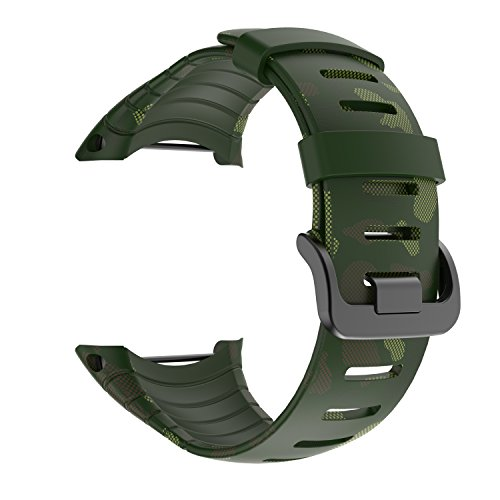 Suunto Core Strap, Rubber Replacement Watch Band for Suunto Core SS014993000(Army Green Printing)