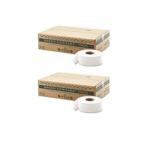 (Atlas Paper Mills 800GREEN Green Heritage Jumbo Junior Roll Toilet Tissue, 2-Ply, 9