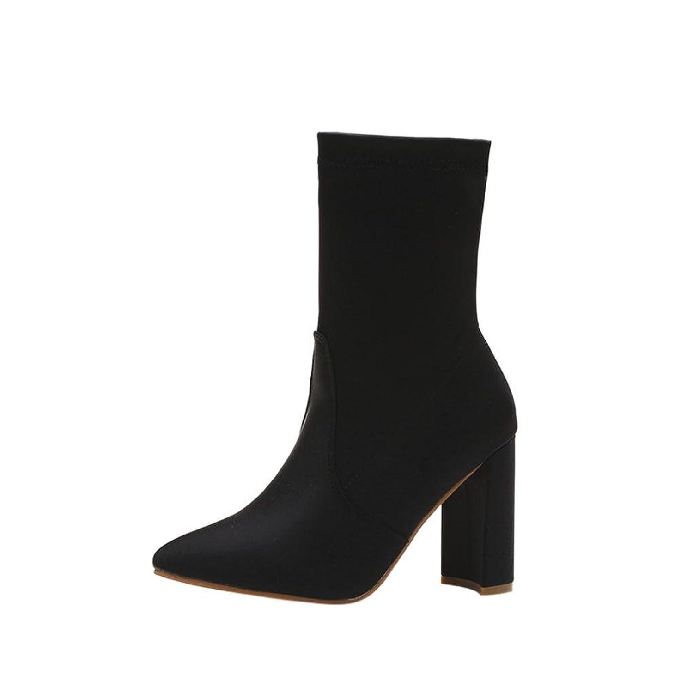 wuayi Frauen Winter Schuhe Slim Denim High Heels Stiefel Spitz Knie-High  Kampf Stiefel: Amazon.de: Schuhe & Handtaschen