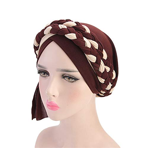 Qianmome Chemo Cancer Turbans Cap Twisted Braid Hair Cover Wrap Turban Headwear for - Turban Headcover