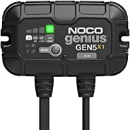 NOCO Genius GEN5X1, 1-Bank, 5-Amp (5-Amp Per Bank) Fully-Automatic Smart Marine Charger, 12V Onboard Battery C