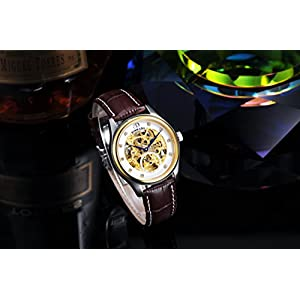 BINKADA Men's Novelty Golden Hollow Automatic Mechanical Tourbillon Watch #7001A02-3