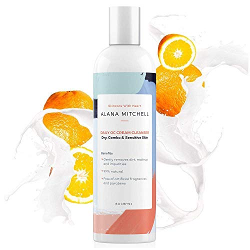 Cleanser Citrus Coconut - All Natural Facial Cream Cleanser w/Coconut Oil & Aloe (8oz) Oil Control Acne Face Wash - Soap Free Cleansing For All Skin Types - Use Daily To Remove Dirt, Impurities & Makeup By Alana Mitchell