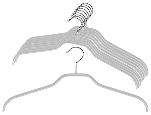 Mawa by Reston Lloyd Silhouette Series Non-Slip Space Saving Clothes Hanger for Shirts and Dresses, Style 41/F, Set of 10, Silver