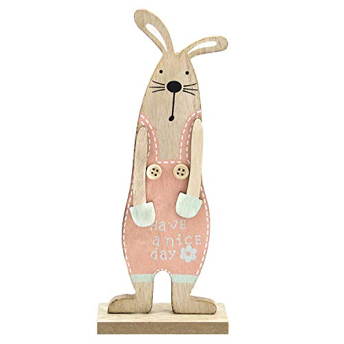 LITTLE SIENA Easter Decorations, Wooden Rabbit Bunny Festive Mini Animals Ornaments Craft Gifts for Home Table Top Decor Pendant Wedding Festival Holiday Party Valentine's Day New Year Decor Pink -
