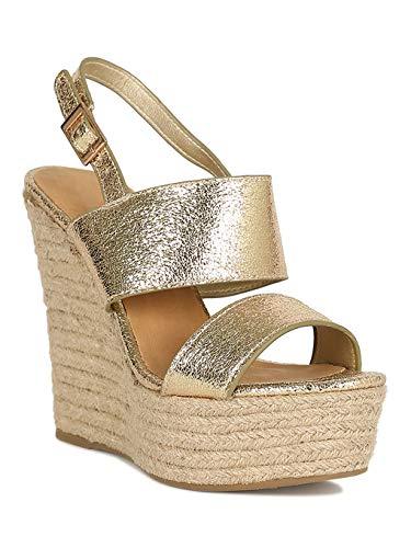 - Alrisco Women Double Band Slingback Espadrille Platform Wedge Heel Sandal RJ59 - Gold Metallic (Size: 9.0)