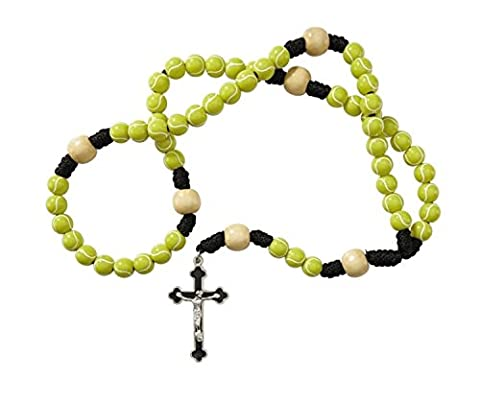 Tennis Rosary with a FREE St. Sebastian (patron saint of athletes) Prayer Card by Keeping God in - God Prayer Card