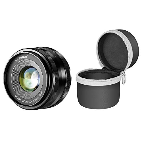 Neewer 35mm f/1.7 Manual Focus Prime Fixed Lens with Lens Pouch Bag for Sony E-Mount Digital Mirrorless Cameras A6500, A6300, A6100, A5000, A5100, A6000, A9, NEX 3 NEX 3N NEX 5 NEX 5R NEX 6 7