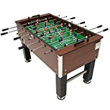 Sunnydaze 55-Inch Faux Wood Foosball Table with Folding Drink Holders, Sports Arcade Soccer for Game Room