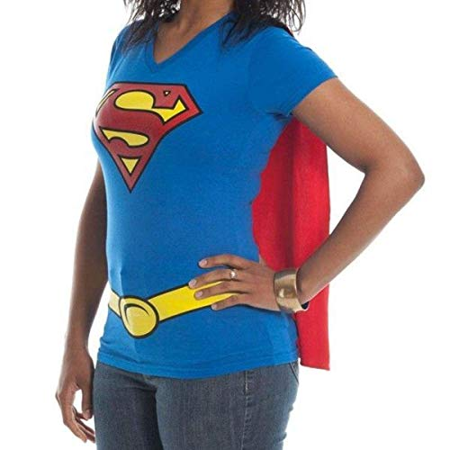 Supergirl DC Comics Cape Juniors T-Shirt (XXX-Large, Blue)]()