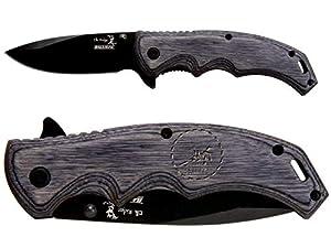 Elk Ridge ER-A004GY Gray Pakkawood Stalwart Folding Ballistic Pocket Knife - Choose Your Design by NDZ Performance
