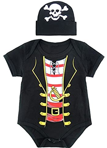 Mombebe Baby Boys' Pirate Halloween Costume Bodysuit with Hat (12-18 Months, Pirate)