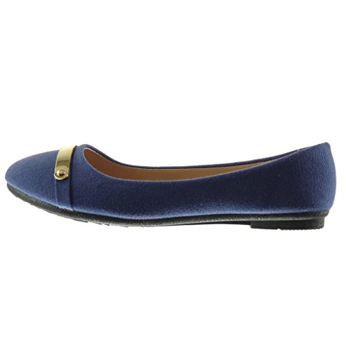 Angkorly - damen Schuhe Ballerina - Slip-On - metallisch - Geflochten flache Ferse 1 CM - Blau
