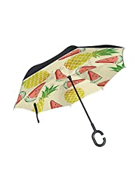 All Agree Red Lipstick Kiss in Black Inverted Umbrella Double Layer Windproof UV Protection Compact Car Reverse Umbrella